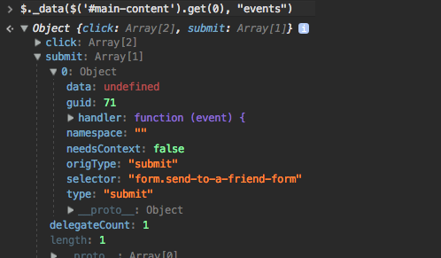 Inspecting jQuery event handlers